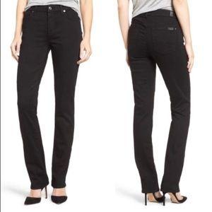 7FAM Black Straight Leg Jeans